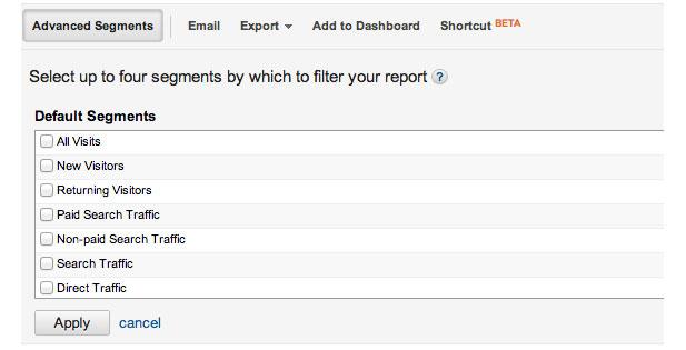 how to use google analytics advanced segments