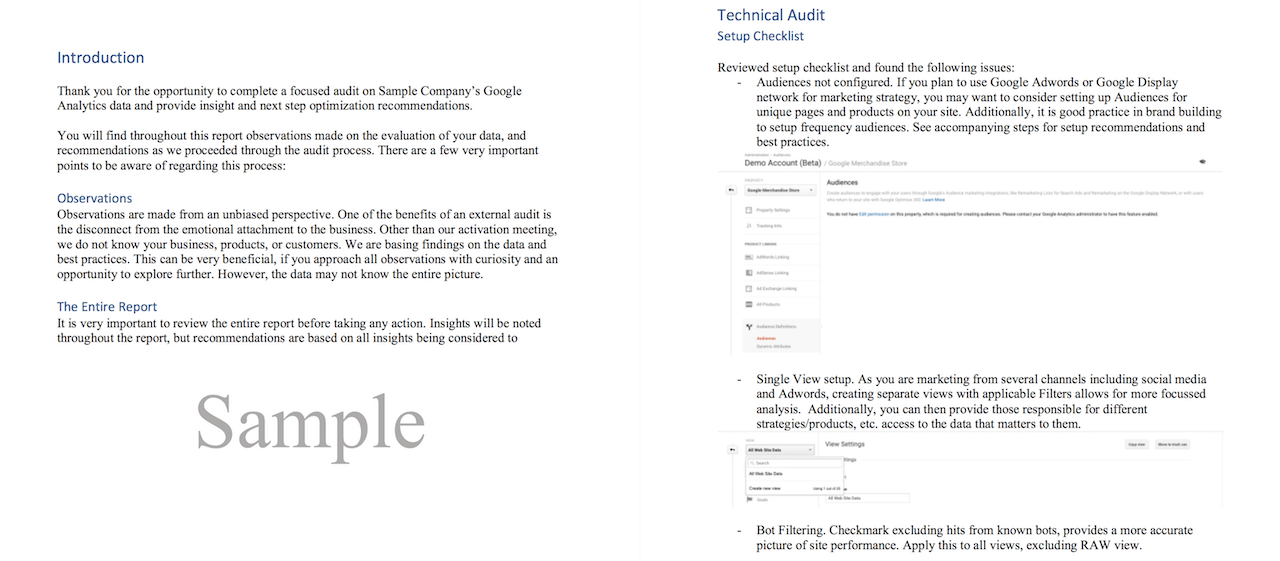 Sample Google Analytics Audit